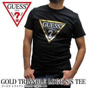 メール便送料無料 GUESS ゲス MJ2K8416K GOLD TRIANGLE LOGO S/S TEE ゴールド トライアングルロゴ 半袖Tシャツ|gb-int