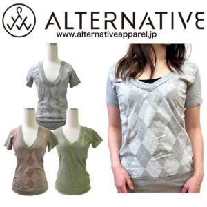 ALTERNATIVE APPAREL アーガイル柄Vネック半袖Tシャツ  [メール便対応]|gb-int