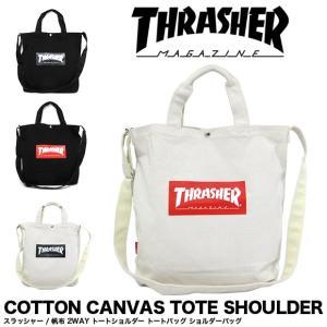 THRASHER スラッシャー バッグ トートバッグ ショルダーバッグ コットン キャンバス 2WAY トートショルダー THC803|gb-int