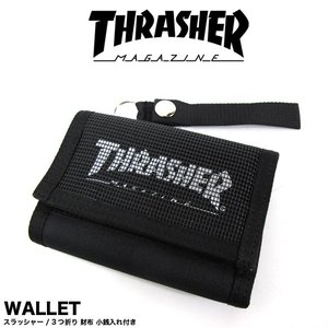 1点までメール便送料無料 THRASHER スラッシャー 財布 3つ折り マジックテープ ウォレット 小銭入れ付き THRSG111 gb-int