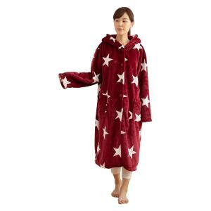 ナイスデイ モフア mofua あったか ルームウェア フード付き 着る毛布 M 着丈110cm 星...