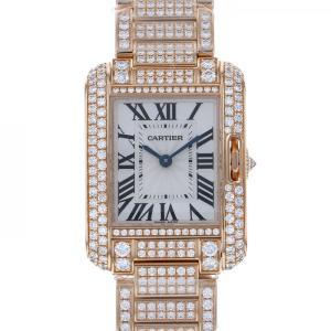 カルティエ タンク アングレースSM ケースブレスダイヤ HPI00558 シルバー文字盤 レディース 腕時計 中古