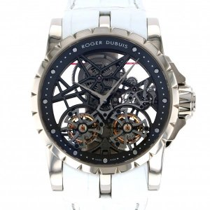 ロジェ・デュブイ エクスカリバー ダブルフライングトゥールビヨン スケルトン RDDBEX0281 シルバー文字盤 メンズ 腕時計 中古 gc-yukizaki