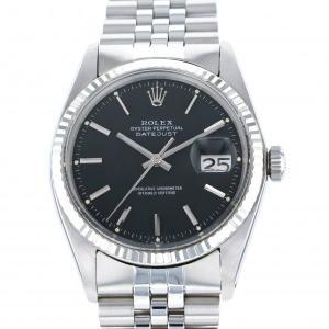 ロレックス デイトジャスト 1601 ブラック文字盤 メンズ 腕時計 中古|gc-yukizaki