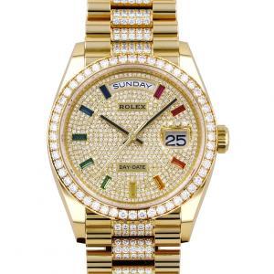 ロレックス ROLEX デイデイト 36 レインボーインデックス パヴェダイヤ 128348RBR 全面ダイヤ文字盤 新品 腕時計 メンズ|gc-yukizaki