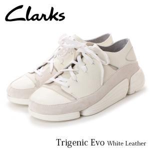 クラークス CLARKS メンズ スニーカー トライジェニックイーヴォ ホワイトレザー レザー 本革 ローカット ファッション 革靴 26128331 CLA26128331 国内正規品|geak