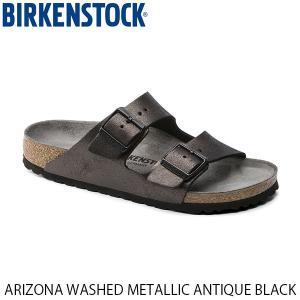 ビルケンシュトック メンズ レディース サンダル アリゾナ ARIZONA WASHED METALLIC ANTIQUE BLACK 幅狭 BIRKENSTOCK GC1011292 国内正規品 geak