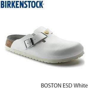 ビルケンシュトック メンズ サンダル ボストン ESD BOSTON ESD サボ コンフォート クロッグサンダル 幅広 ホワイト 白 BIRKENSTOCK GP061370 国内正規品|geak