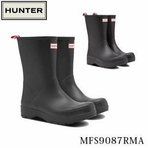 ハンター メンズ レインブーツ 長靴 オリジナル プレイ ショート ウェリントン ブーツ アングルブロックヒール レインシューズ HUNTER MFS9087RMA 国内正規品|geak