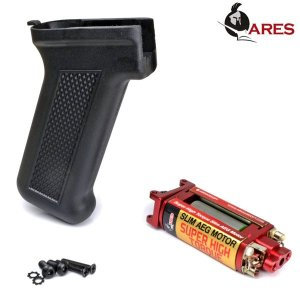 ARES AK スリムピストルグリップ ブラック + スーパーハイトルク スリム AEG モーター セット|geelyy