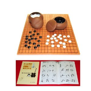 入門書付    囲碁セット  囲碁入門セット 19路 折碁盤 碁石 碁笥   |gekiyasu342
