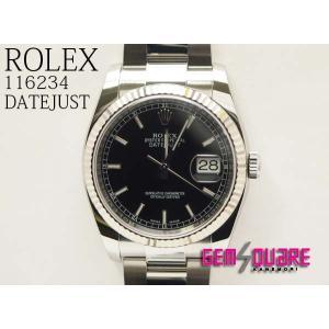 best service d794d 8d29f ROLEX ロレックス デイトジャスト 黒 3連ベルト 男腕時計 ランダム品番 中古 116234(質屋出店)