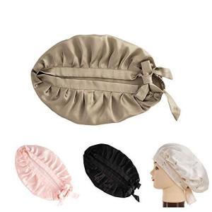シルク ナイトキャップ シルクキャップ ロングヘア ヘアケア 可愛い リボン 柄 紐付き シルク100% お休みキャップ ショートヘア シルクキャップ gemselect