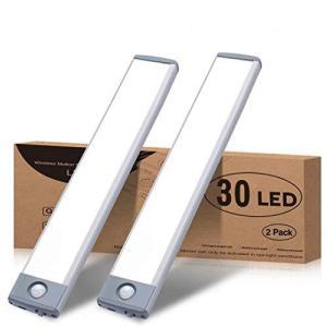 LEDセンサーライト、室内 小型 キッチンライト 極薄 30 LED USB 1500MA 充電式 夜間ライト階段ライト led バーライト 2個入 gemselect
