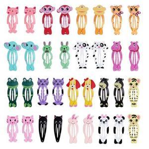 WINOMO 子供ヘアクリップ ヘアピン スリーピン パッチン留め こども 動物のデザイン 34個セット 17種デザイン|gemselect