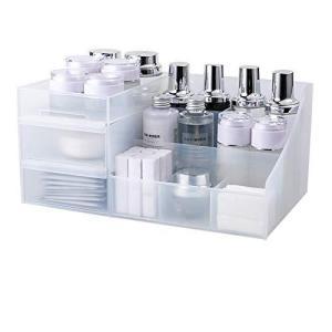 化粧品収納ボックス メイクボックス コスメ収納 小物入れ 卓上収納 引き出し式 耐久性 透明 安定 シンプル 櫛置き場 整理簡単 大容量 防塵、防水 gemselect