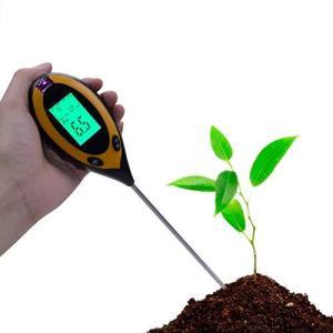 土壌テスター A-leaf デジタル土壌酸度計4-in-1土壌酸度/照度/水分含有量/温度測定 PHテスター 土壌測定器 多機能 農業 園芸用品 gemselect