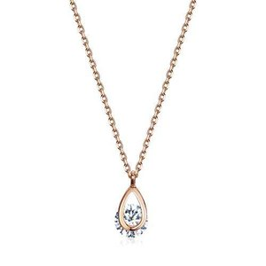 ネックレス レディース [星の涙ネックレス] ペンダント 一粒 キュービックジルコニアダイヤモンド シルバー925 純銀 18金 メッキ ピンクゴール|gemselect