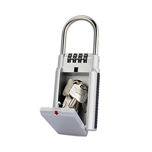 Hon&Guan キーボックス 南京錠 鍵収納ボックス ダイヤル式 4桁 大型サイズ 防犯 盗難防止 (シルバー)|gemselect