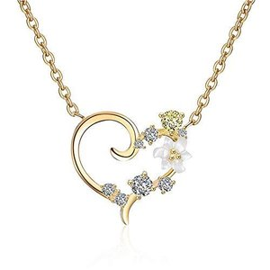MIKAMU ネックレスレディース CZキュービックジルコニア 桜 オープンハート 925純銀製 バラの金のネックレス桜遊び心かわいい女の子ペンダント|gemselect