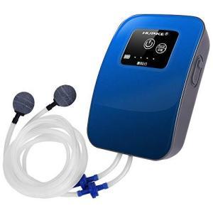 リチウム電池 エアーポンプ  (青) 停電したら内蔵電池に切り替え 水槽 魚の移送 釣り用 タイマ間隔作業モード 2600mAh大容量バッテリー 消音 gemselect