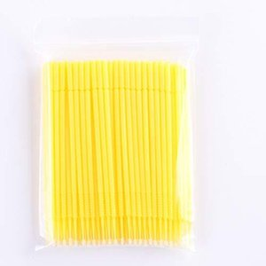 PLATINA LASH マイクロスティック 100本入り マイクロブラシ 極細綿棒アプリケーター まつげエクステ用 (Fine/Yellow)|gemselect