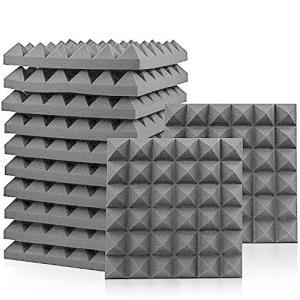 Eneru 吸音材 防音 スーパーダッシュ 吸音材質ポリウレタンフォームー ピラミッド型 30cm×30cm 厚さ5cm 12ピースセット(ブラック) gemselect