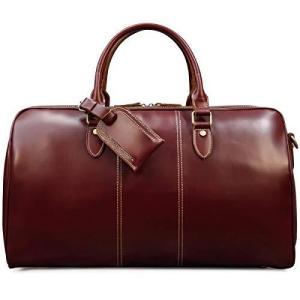 ボストンバッグ 本革 メンズ 光沢 レッド 大容量 男女兼用 レザー トラベルバッグ ラウンドファスナー 高級感 コルフバッグ 鞣しレザー 旅行バッグ|gemselect