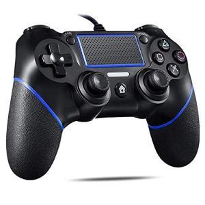 PS4 コントローラー 有線 プレステ4 ゲームパッド USB接続 二重振動 人間工学 高耐久ボタン PS3/PC/PS4/対応  (ブルーブラック)|gemselect