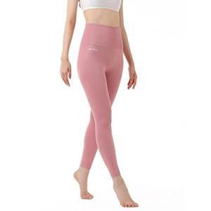 THREENINE ハイウェスト レギンス ヨガパンツ レディース 美脚 美尻 トレーニングウェア 9分丈 (S, ピンク)|gemselect