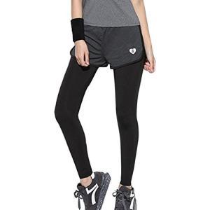 [GiGant] 一体型 スパッツ レギンス フィットネスパンツ タイツ スポーツ パンツ ランニングウェア ジム レディース (XLサイズ)|gemselect