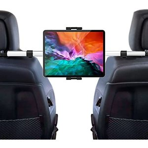 woleyi タブレット ヘッドレスト車載ホルダー 後部座席取付 安定性 防振でき 360度調節可 伸縮可 真ん中固定 タブレット スマホ スタンド|gemselect