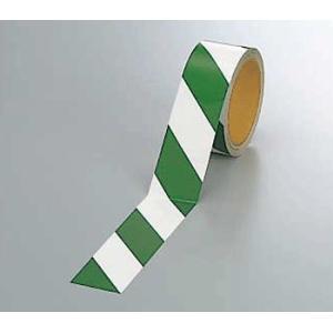 反射トラテープ 374-14 45mm巾×10m巻 緑白 genba-anzen
