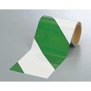 反射トラテープ 374-16 150mm巾×10m巻 緑白 genba-anzen
