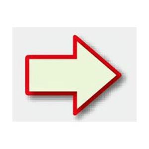避難誘導蓄光ステッカー 矢印マーク(赤枠) 824-52 100×120mm|genba-anzen