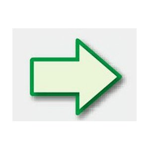 避難誘導蓄光ステッカー 矢印マーク(緑枠) 824-53 100×120mm|genba-anzen