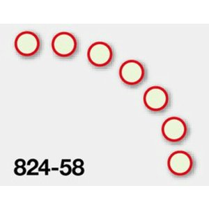 蓄光ステッカー ●赤枠(7枚1組) 50mmφ 824-58|genba-anzen