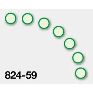 蓄光ステッカー ●緑枠(7枚1組) 50mmφ 824-59|genba-anzen