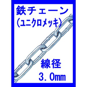 鉄チェーン IW30ー1(表面処理:ユニクロ) 線径3.0mm×1m最も代表的なチェーン。|genba-anzen