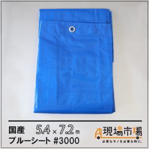 厚手 防水 ブルーシート 国産 #3000 1枚入  5.4m×7.2m|genbaichiba