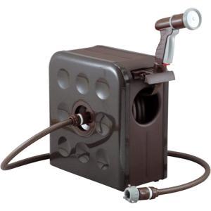 ホースリール おしゃれ 20m 三洋化成 S-BOX リール SBX-Q207R ブラウン 散水 genbaichiba