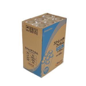 ストレッチフィルム 10ミクロン 500x500m 6巻入り 1箱 ラップ 梱包用 手巻き ポリエチレン製 3インチ紙管|genbaichiba