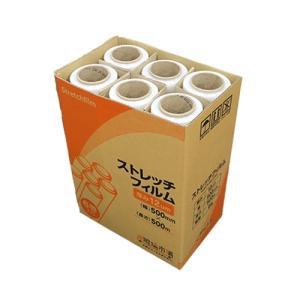 ストレッチフィルム 12ミクロン 500x500m 6巻入り 1箱 ラップ 梱包用 手巻き ポリエチレン製 3インチ紙管|genbaichiba