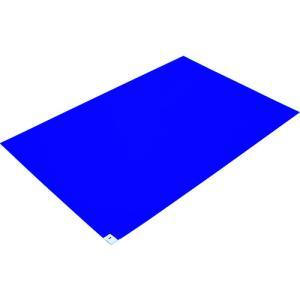 TRUSCO 粘着クリーンマット 600×900MM ブルー 1シート 30枚入|genbaichiba