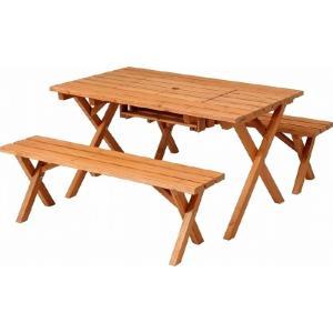 杉材 BBQテーブル・ベンチセット コンロスペース付 ナチュラル fj-81761|genco2
