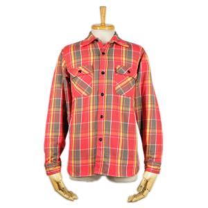 ヘビーネルシャツ レッド (ワンウォッシュ) - Heavy Nel L/S shirts Red check (ONE-WASH)|generag