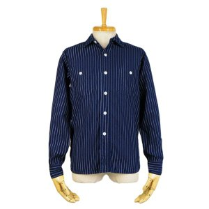 ウォバッシュ 長袖ワークシャツ - Wabash stripe L/S work shirts (ONE-WASH)|generag|01