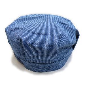 ピンドットストライプ ライトブルー ワークキャップ(ワンウォッシュ) - Work Cap Light Blue Pin dot stripe(ONE-WASH)|generag|04