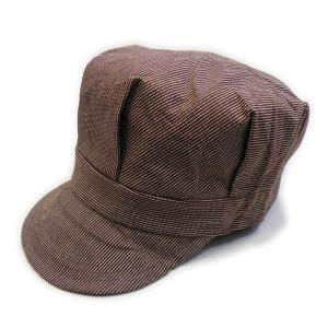 ピンドットストライプ ブラウン ワークキャップ(ワンウォッシュ) - Work Cap Brown Pin dot stripe(ONE-WASH)|generag
