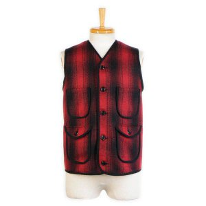 ウールベスト オンブレチェック - Onbre check Wool Work vest(Red check)|generag